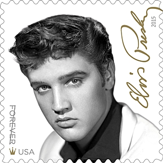 The elvis information network home to the best news reviews presley commemorative forever stamp it bears a black and white image of the young rocker in the mid 1950s when his career was igniting fandeluxe Choice Image